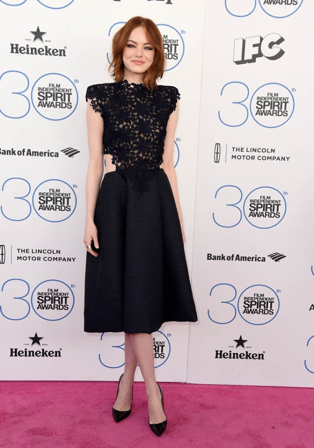 Emma Stone in Monique Lhullier at the Independent Spirit Awards