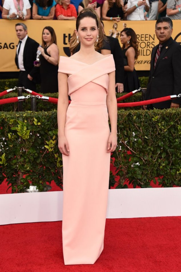 Felicity Jones in Balenciaga at the 2015 SAG Awards
