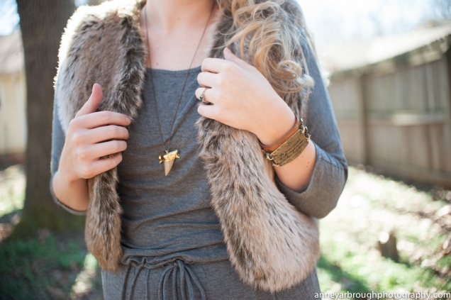 Faux Fur Gilet Vest, Heather Grey Boyfriend Maxi, Lenny & Eva Leather Cuff Bracelet, Gold Dipped Megalodon Shark Tooth