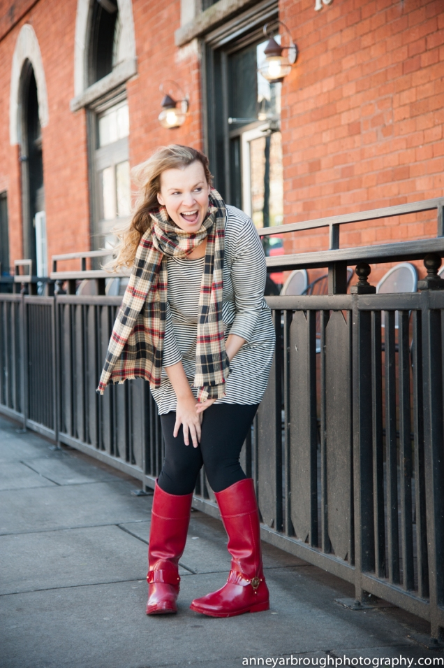 Wild Souls: Plaid Flannel Blanket Scarf, Striped Tunic, Leggings, Red Michael Kors Rain Boots