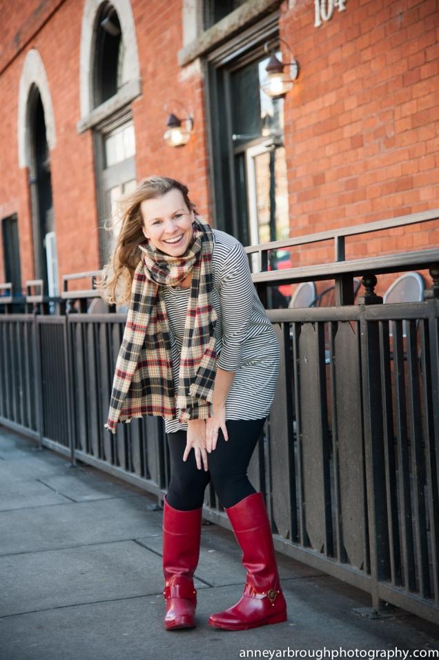 Wild Souls: Plaid Flannel Blanket Scarf, Striped Tunic, Leggings, Red Michael Kors Rain Boots