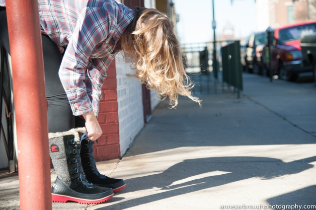 SOREL TIVOLI™ II HIGH HERRINGBONE BOOT * J. CREW BOYFRIEND FLANNEL * MOVING COMFORT URBAN GYM TIGHT