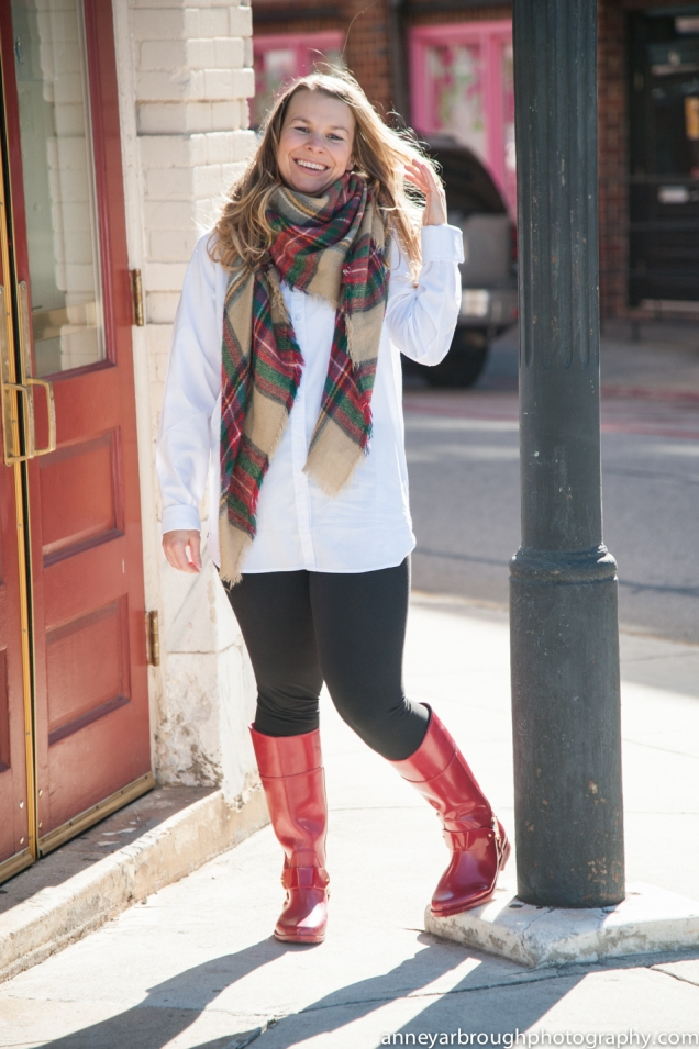 Wild Souls Red Michael Kors Rain Boots and Blanket Scarf