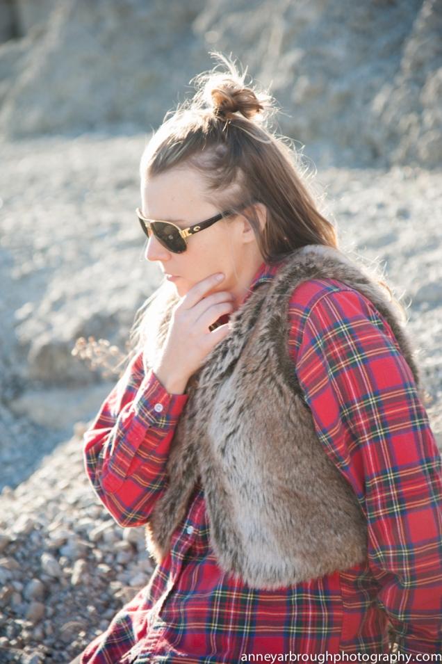 Wild Souls: Red Flannel Shirt & Faux Fur Gilet