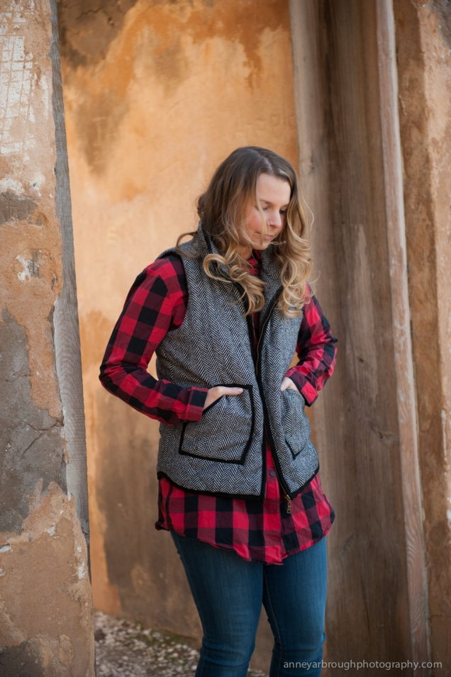 Wild Souls: Red Black Buffalo Plaid Tunic Shirt, Herringbone Tweed Vest, GAP Legging Jeans, Glitter Booties