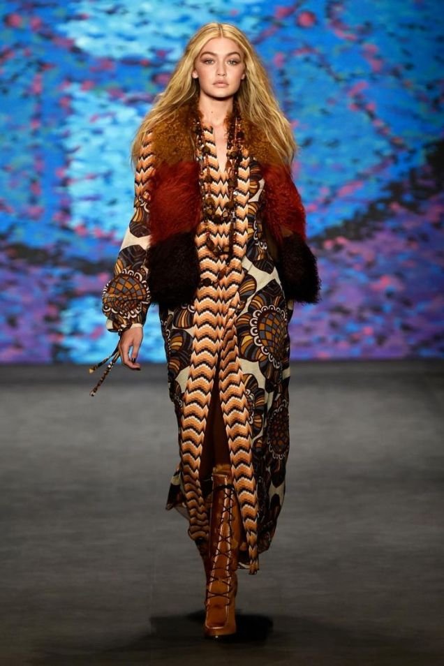 Gigi Hadid Anna Sui Runway New York Fashion Week Fall 2015