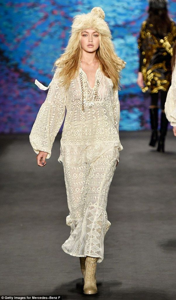 Gigi Hadid Anna Sui Runway New York Fashion Week 2015