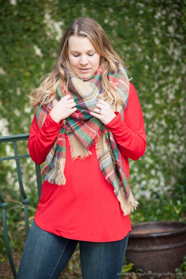 Wild Souls: What I Wore Blanket Scarf and Red Tunic