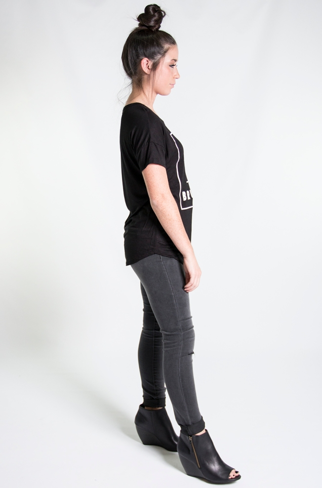 www.shopwildsouls.com :: You Had Me at Brunch Tee + Slit Knee High Waist Grey Skinny Jeans + Rebellion Peep Toe Ankle Boots by BC Footwear