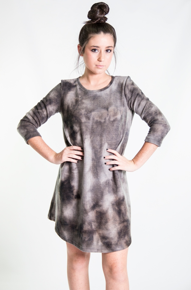 www.shopwildsouls.com :: Northern Lights Tie Dye Fleece Dress + Black Rebellion Peep Toe Ankle Booties