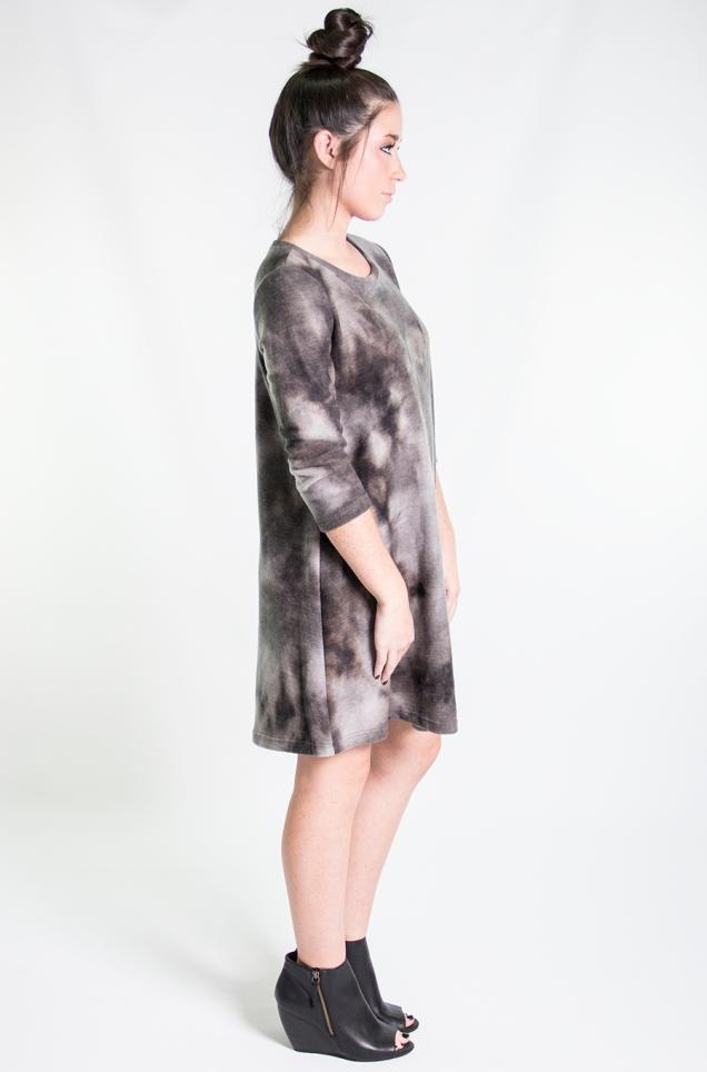 www.shopwildsouls.com :: Northern Lights Tie Dye Fleece Dress + Black Rebellion Peep Toe Ankle Booties