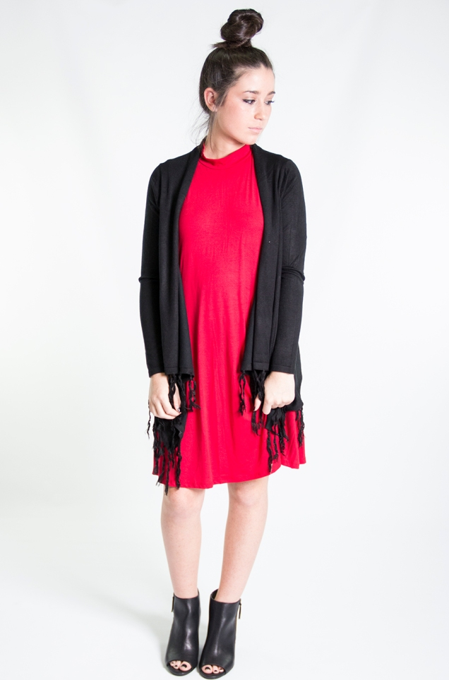 www.shopwildsouls.com :: Waterfall Fringe Cardigan in Black + Flying Trapeze Dress in Red + Rebellion Peep Toe Ankle Boots in Black